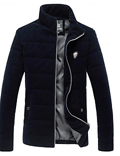 Men's Regular Padded Coat,Simple Casual/Daily Solid-Cotton White Duck Down Long Sleeves Stand