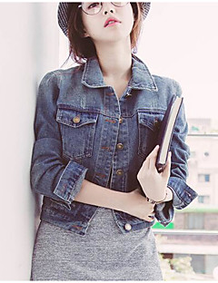 Women's Daily Modern/Contemporary Spring Denim Jacket,Solid Shirt Collar Long Sleeve Short Polyester Others