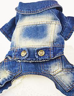 billiga Hundkläder-Hund Jeansjackor Hundkläder Jeans Mörkblå Blå Denim Kostym För husdjur Herr Dam Ledigt/vardag Cowboy