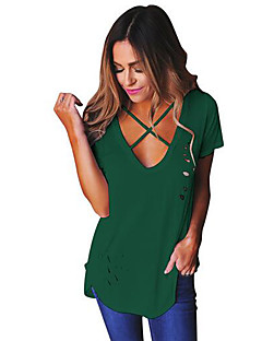 Women's Going out Casual/Daily Sexy Simple Summer T-shirt,Solid Round Neck Short Sleeve Polyester Medium