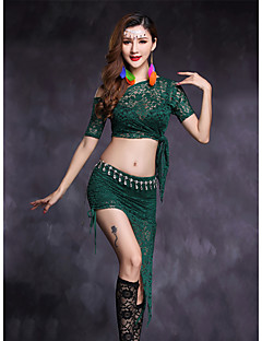 cheap Belly Dance Wear-Belly Dance Outfits Women's Performance Lace Lace Short Sleeve Natural Skirts Top