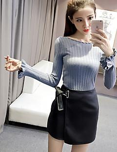 Χαμηλού Κόστους Ruffled Sweaters-Γυναικεία Μακρυμάνικο Ζακέτα - Μονόχρωμο Μαλλί