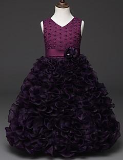 cheap Flower Girl Dresses-Princess Knee Length Flower Girl Dress - Tulle Netting Organza Polyster Sleeveless V Neck by Bflower