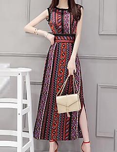Χαμηλού Κόστους Split dresses-Γυναικεία Μεγάλα Μεγέθη Βίντατζ Καθημερινό Εφαρμοστό Σε γραμμή Α Φόρεμα - Καρό Μακρύ Μίντι