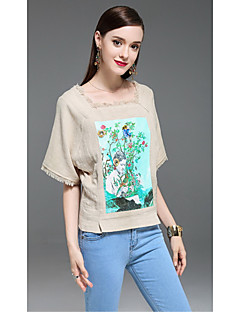 Kadın Pamuklu Keten Yarım Kol Kare Yaka Çiçekli Boho Günlük/Sade-Kadın Tişört