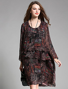 여성 루즈핏 드레스 데이트 캐쥬얼/데일리 보호 프린트,라운드 넥 미디 긴 소매 폴리에스테르 가을 높은 밑위 신축성 없음 얇음