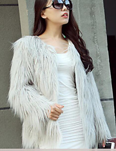 Women's Casual/Daily Simple Fall Winter Fur Coat,Solid V Neck Sleeveless Regular Others