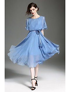QIN QIN Women's Holiday Going out Simple Street chic Loose Swing Dress,Solid Round Neck Asymmetrical Short Sleeves Polyester Summer Mid Rise