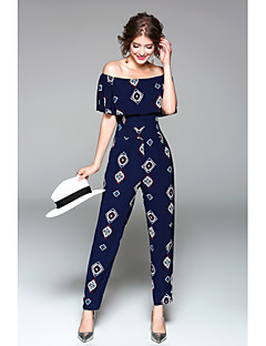 Women's Daily Going out Holiday Casual Sexy Print Boat Neck Jumpsuits,Slim Short Sleeve Spring Summer Polyester