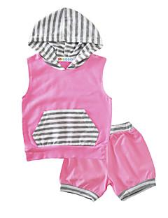 billige Babytøj-Baby Pige Tøjsæt Bomuld Indendørs udendørs Afslappet/Hverdag Stribe, Bomuld Sommer Uden ærmer Stribet Lyserød