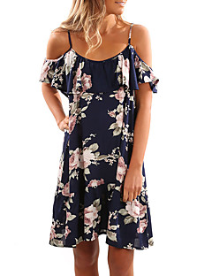 cheap Women's Dresses-Women's Beach Going out Street chic Sheath Dress - Color Block Floral Print Backless Ruffle Retro