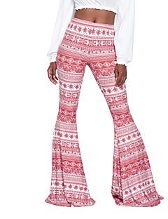 レディース ストリートファッション ボヘミアン ハイライズ ブーッカット マイクロエラスティック チノパン パンツ プリント