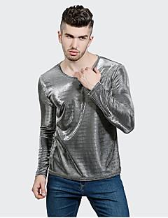 メンズ カジュアル/普段着 Tシャツ,ストリートファッション Vネック ソリッド ポリエステル 長袖