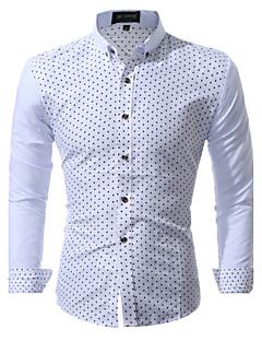 Bomull Polyester Langermet,Skjortekrage Skjorte Trykt mønster Alle sesonger Enkel Søt ChinoiserieBryllup Fest Ut på byen Fritid/hverdag