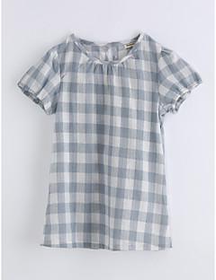 billige Barns Moteklær-Jente T-skjorte Gitter Trykt mønster Bomull Sommer Kortermet