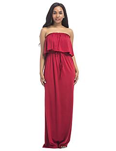 お買い得  マキシドレス-女性用 プラスサイズ ビーチ ボヘミアン シース ドレス ソリッド マキシ ハイライズ ストラップレス レッド
