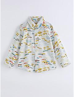 Boys' Print Lattice Tee,Cotton Spring/Fall Long Sleeve Yellow