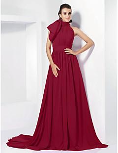 billiga Kändisklänningar-A-linje Hög hals Hovsläp Chiffong Formell kväll / Smokinggala Klänning med Rosett(er) / Plisserat av TS Couture® / Vintage-inspirerad