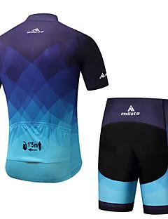 billige Sykkelklær-Miloto Herre Kortermet Sykkeljersey med shorts - Blå Sykkel Fôrede shorts / Klessett Spandex Gradient / Elastisk