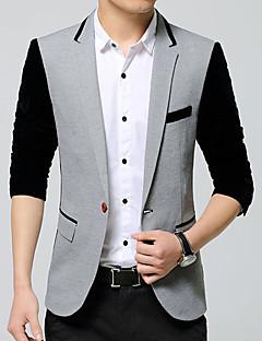 Erkek Pamuklu Akrilik Uzun Kol Gömlek Yaka İlkbahar/Kış Zıt Renkli Basit Vintage Günlük/Sade Çalışma Normal-Erkek Blazer