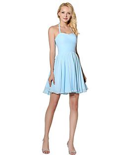 tanie Królewski błękit-Księżniczka Halter Krótka / Mini Szyfon Sukienka dla druhny z Fałdki boczne przez