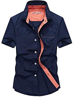 billige Herremote og klær-Annet Kortermet, Skjortekrage Skjorte Ensfarget Sommer Fritid Daglig Herre
