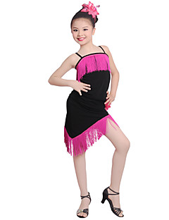 tanie Stroje do tańca latino-Taniec latynoamerykański Suknie Wydajność Lodowy jedwab Kwiat Frędzel Bez rękawów Wysoki Ubierać