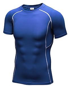 billige Løbetøj-Herre Rund hals Løbe-T-shirt - Rød, Grøn, Blå Sport T-Shirt / Kompressionstøj / Toppe Fitness, Træningscenter, Træning Kortærmet Sportstøj Fitness, Løb & Yoga Elastisk