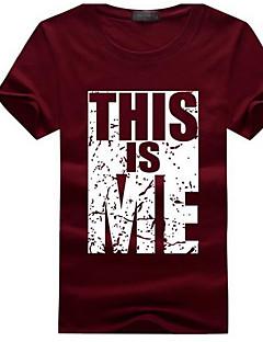 billige Herremote og klær-Bomull Lin Tynn Skjortekrage T-skjorte Herre - Ensfarget Stripet Geometrisk Aktiv