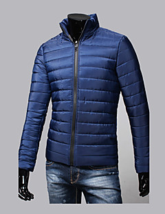 Men's Regular Padded Coat,Simple Going out Casual/Daily Solid Color Block-Cotton Polyester Long Sleeves Stand
