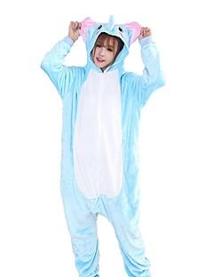 billige Kigurumi-Kigurumi-pysjamas Elefant Onesie-pysjamas Kostume Flannelstoff Blå Cosplay Til Pysjamas med dyremotiv Tegnefilm Halloween Festival /