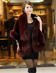 Women's Daily Simple Casual Winter Fall Fur Coat,Solid Shawl Lapel Sleeveless Long Others Fur Trim