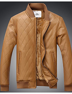 Men's Daily Vintage Spring Fall Leather Jacket,Solid Striped Print Stand Long Sleeve Regular Linen Acrylic Calfskin
