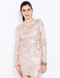 Χαμηλού Κόστους Sequin Dresses-Γυναικεία Εφαρμοστό Φόρεμα - Συνδυασμός Χρωμάτων, Εξώπλατο Πούλιες