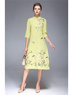 Damen Hülle Kleid-Lässig/Alltäglich Solide Druck Stickerei Ständer Knielang 3/4 Ärmel Baumwolle Leinen Nylon Herbst Mittlere Hüfthöhe