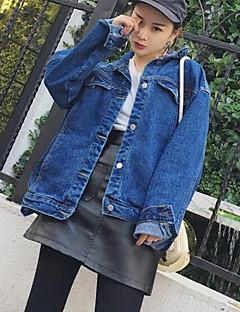 Damen Druck Einfach Lässig/Alltäglich Jeansjacke,Hemdkragen Frühling Herbst Lange Ärmel Standard Andere