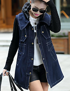 Women's Daily Going out Simple Casual Winter Fall Denim Jacket,Solid Peter Pan Collar Long Sleeve Long Cotton