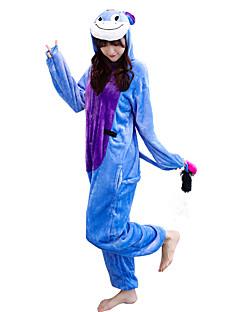 billige Kigurumi-Voksne Kigurumi-pysjamas Esel Onesie-pysjamas Kostume Flanellette Blå Cosplay Til Pysjamas med dyremotiv Tegnefilm Halloween Festival / høytid / Jul