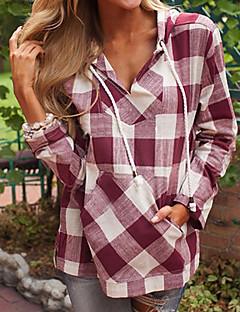 tanie Damskie bluzy z kapturem-Damskie Rozmiar plus Podstawowy Bluza z Kapturem - Kratka