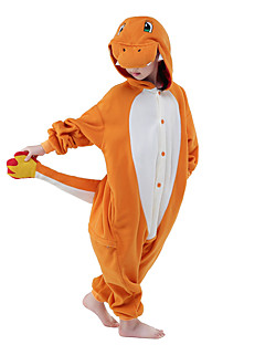 Kigurumi-pyjama's Cartoon Draak Onesie Pyjama  Kostuum Fleece Oranje Cosplay Voor Kind Dieren nachtkleding spotprent Halloween Festival /