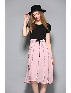 preiswerte ANGEL-Damen Anspruchsvoll Swing Kleid - Rüsche, Einfarbig Knielang