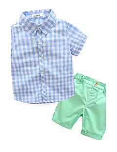 billige Tøjsæt til drenge-Drenge Tøjsæt Anden, Bomuld Sommer Kortærmet Ternet Blå Grøn