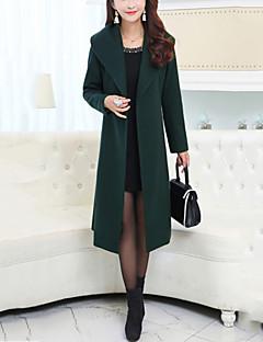 Damen Solide Street Schick Ausgehen Lässig/Alltäglich Übergröße Mantel,Hemdkragen Winter Lange Ärmel Lang Polyester Schleife