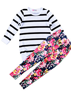 Mädchen Sets Streifen Blumen Baumwolle Polyester Frühling Herbst Lange Ärmel Kleidungs Set