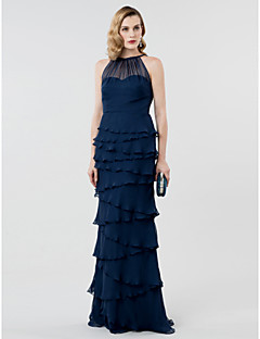 Sheath / Column Illusion Neckline Floor Length Chiffon Formal Evening Dress with Pleats Tiered by TS Couture®