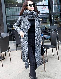tanie Swetry damskie-Damskie Kołnierzyk koszuli Luźna Długi Rozpinany Jendolity kolor Geometryczny Długi rękaw