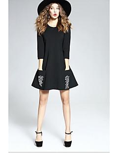 Kadın Dışarı Çıkma Sevimli Kılıf Elbise Desen,3/4 Kol Yuvarlak Yaka Diz üstü Polyester Sonbahar Normal Bel Mikro-Esnek Orta