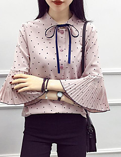 Women's Casual/Daily Simple Blouse,Polka Dot Stand 3/4 Length Sleeves Cotton