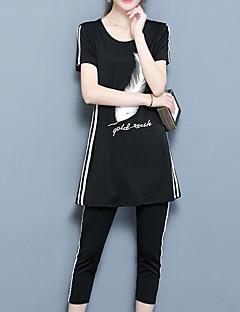 レディース お出かけ カジュアル/普段着 夏 Tシャツ(21) パンツ スーツ,シンプル ヴィンテージ ラウンドネック チェック 半袖