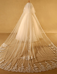 Two-tier Cut Edge Lace Applique Edge Wedding Veil Cathedral Veils With Applique Lace Tulle